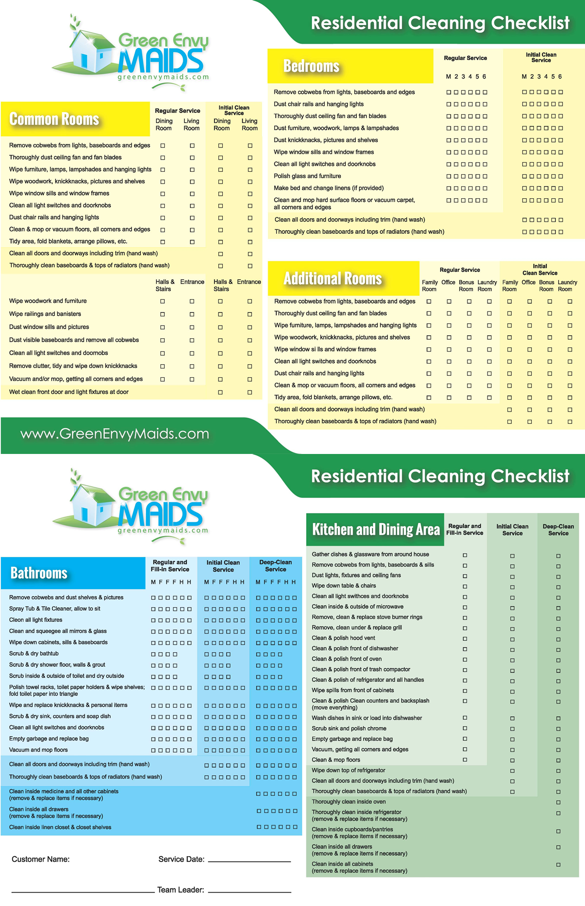 cleaning checklist green envy maids
